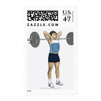 Illustration of man performing upright row stamp