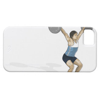 Illustration of man performing weightlifting iPhone SE/5/5s case