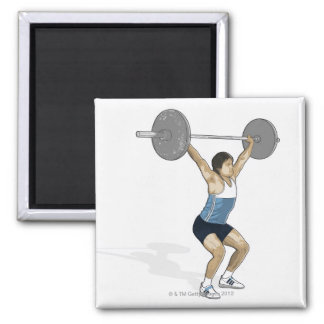 Illustration of man performing weightlifting magnet