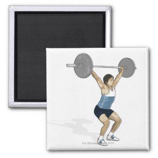 Illustration of man performing weightlifting fridge magnet