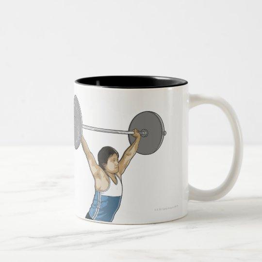 Illustration of man performing weightlifting Two-Tone coffee mug