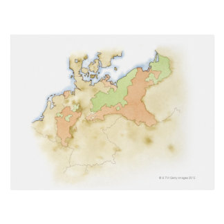 Illustration of map of Germany Postcards
