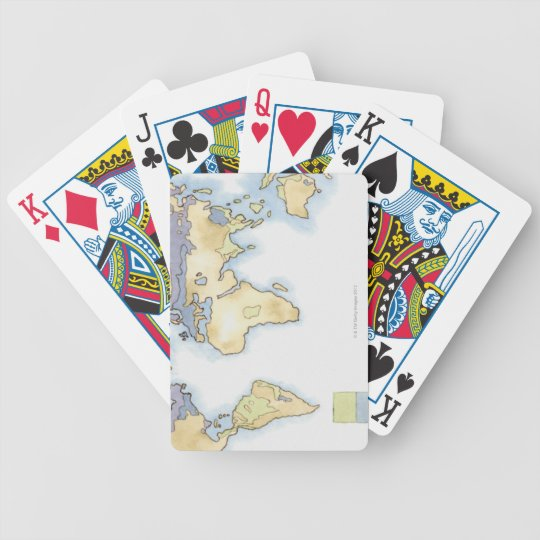 Illustration of map of the world showing areas bicycle playing cards