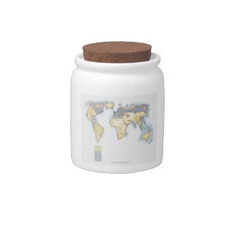 Illustration of map of the world showing areas candy dish