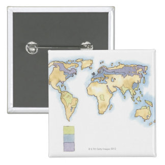 Illustration of map of the world showing areas pinback button
