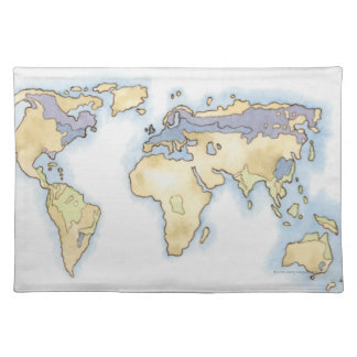 Illustration of map of the world showing areas place mats
