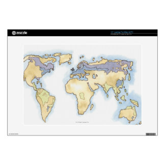 Illustration of map of the world showing areas skin for laptop