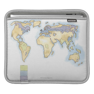 Illustration of map of the world showing areas sleeve for iPads