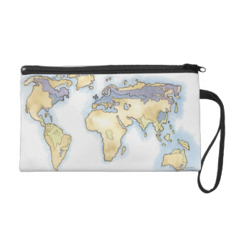 Illustration of map of the world showing areas wristlet
