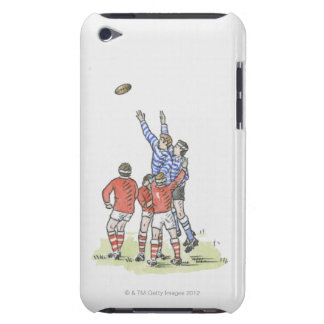 Illustration of men playing rugby jumping in air barely there iPod covers