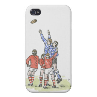 Illustration of men playing rugby jumping in air cover for iPhone 4