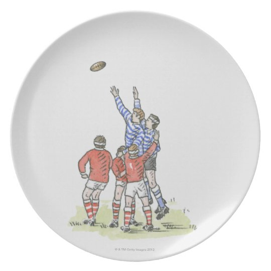 Illustration of men playing rugby jumping in air dinner plate