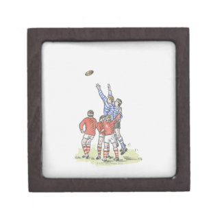 Illustration of men playing rugby jumping in air gift box
