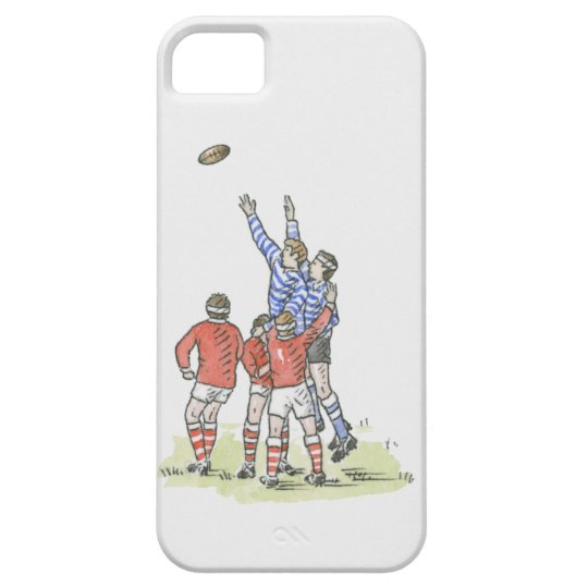 Illustration of men playing rugby jumping in air iPhone SE/5/5s case