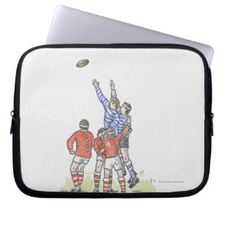 Illustration of men playing rugby jumping in air laptop sleeves