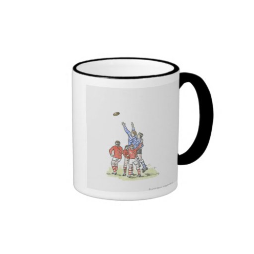 Illustration of men playing rugby jumping in air coffee mugs