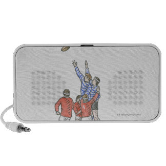 Illustration of men playing rugby jumping in air mp3 speakers