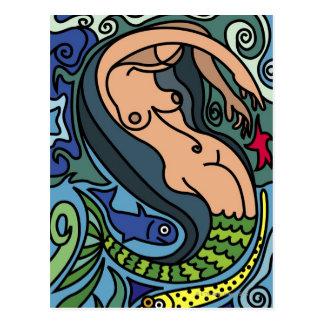 Illustration of Mermaid Postcard
