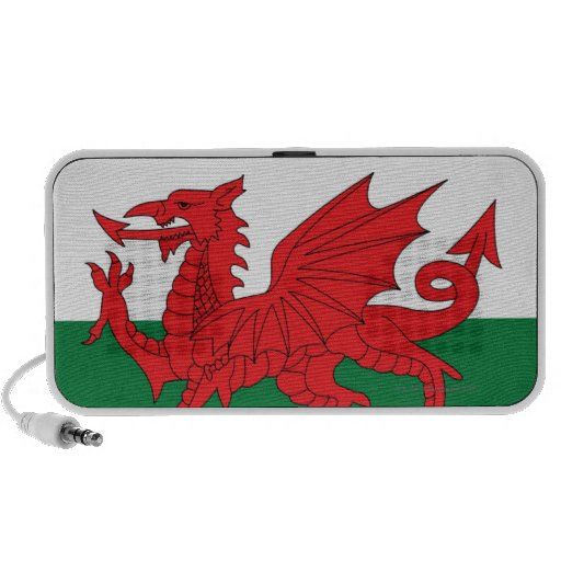 Illustration of national flag of Wales, with red Mini Speakers