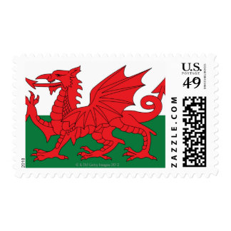 Illustration of national flag of Wales, with red Stamp