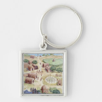 Illustration of native American village Key Chains