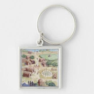 Illustration of native American village Key Chains
