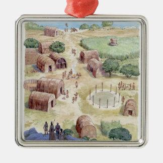 Illustration of native American village Square Metal Christmas Ornament