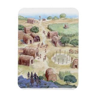 Illustration of native American village Vinyl Magnets