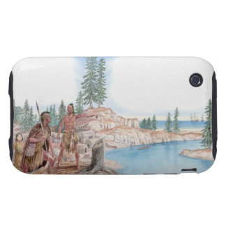 Illustration of Native Americans pointing with Tough iPhone 3 Case