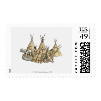 Illustration of Native Americans, teepees, and Postage Stamp