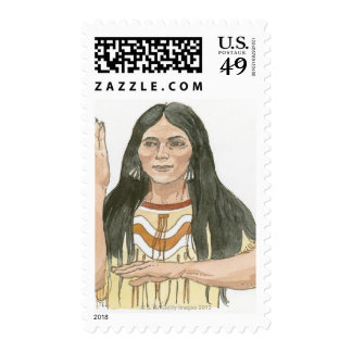 Illustration of Native North American woman Stamps