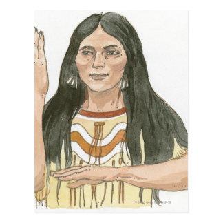 Illustration of Native North American woman Postcard