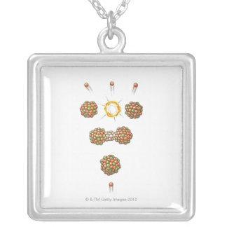 Illustration of neutron hitting Uranium-235 Square Pendant Necklace