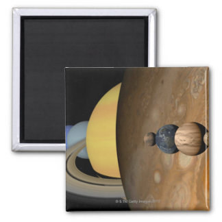 Illustration of Nine Planets in the Solar System 2 Inch Square Magnet