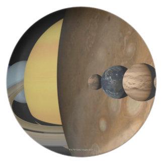 Illustration of Nine Planets in the Solar System Melamine Plate
