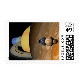 Illustration of Nine Planets in the Solar System Postage Stamp