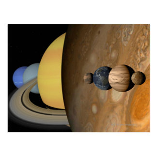 Illustration of Nine Planets in the Solar System Postcard