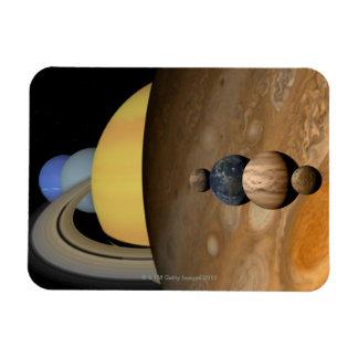Illustration of Nine Planets in the Solar System Rectangular Photo Magnet