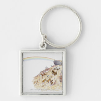 Illustration of Noah's ark with animals leaving Keychain