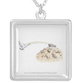 Illustration of Noah's ark with animals leaving Square Pendant Necklace