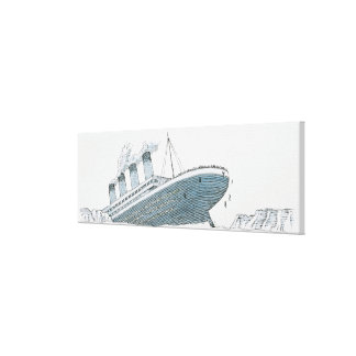 Illustration of passenger falling from the Titanic Canvas Print