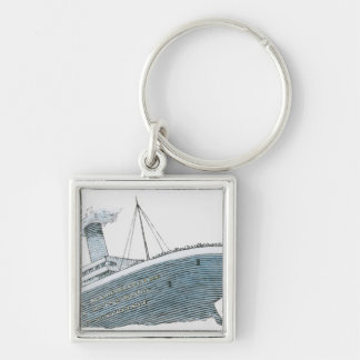 Illustration of passenger falling from the Titanic Keychain