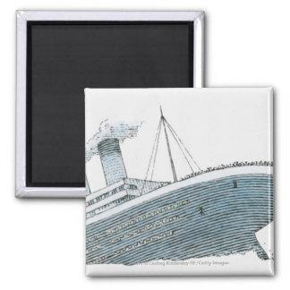 Illustration of passenger falling from the Titanic Magnet