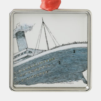 Illustration of passenger falling from the Titanic Metal Ornament