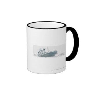 Illustration of passenger falling from the Titanic Mug