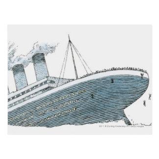 Illustration of passenger falling from the Titanic Postcard