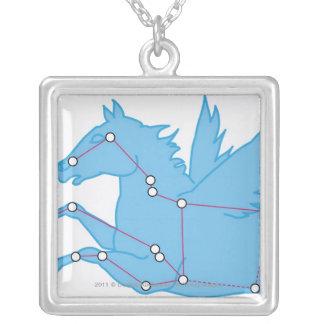 Illustration of Pegasus constellation Square Pendant Necklace