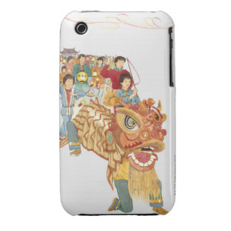 Illustration of people celebrating Chinese New Case-Mate iPhone 3 Cases