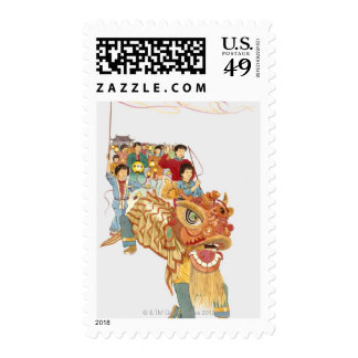 Illustration of people celebrating Chinese New Postage Stamps