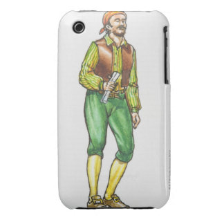 Illustration of pirate holding paper, with beard iPhone 3 case